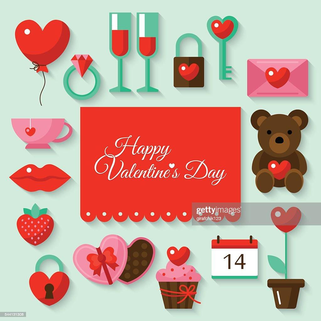 Valentine's day background with flat stylish icons