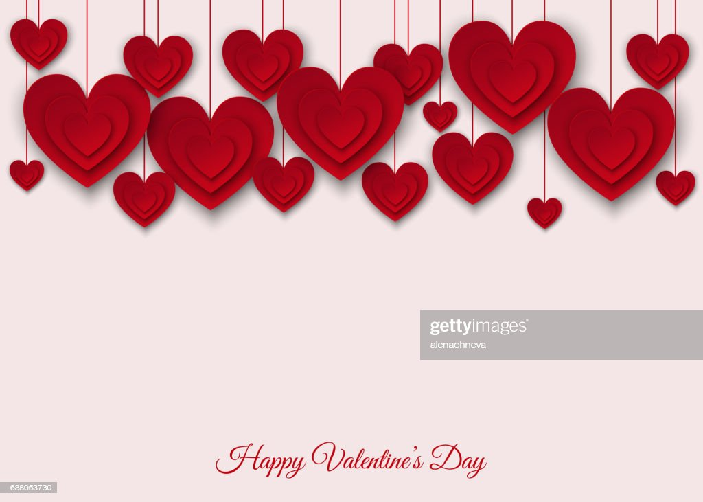 Valentines day  background with red  cut paper hearts.