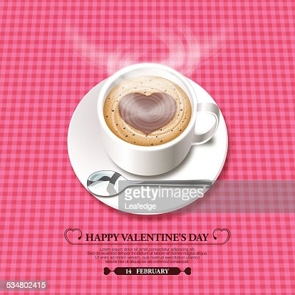 Valentines Day Backgroundfoam Heart On The Hot Chocolate Vector ...