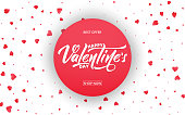 Valentines Day. Banner for Valentines sale, promotion, discounts etc. Background with Valentine's day lettering and hearts confetti