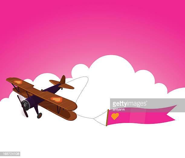 valentine's day banner - biplane stock illustrations, clip art, cartoons, & icons
