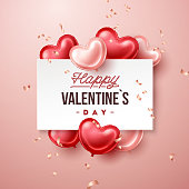 Valentines Day banner with heart shaped balloons