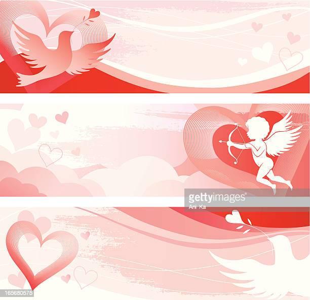 illustrations, cliparts, dessins animés et icônes de bannières de la saint-valentin - cupidon and saint valentin