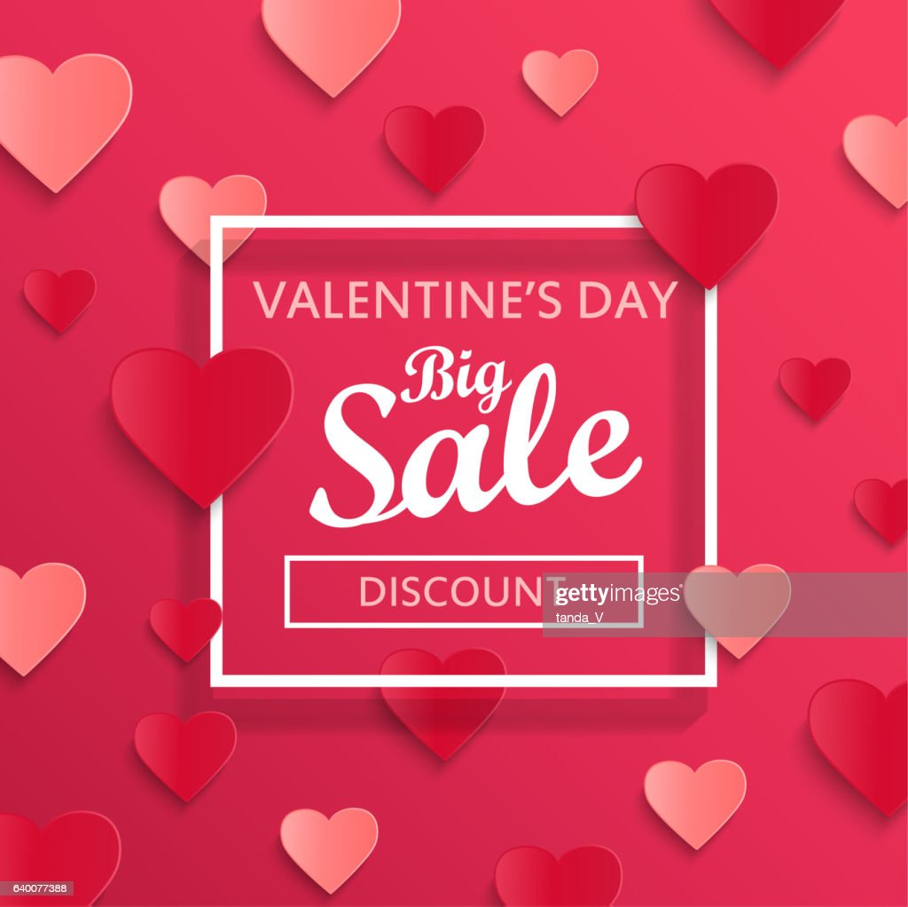 Valentines day big sale background.
