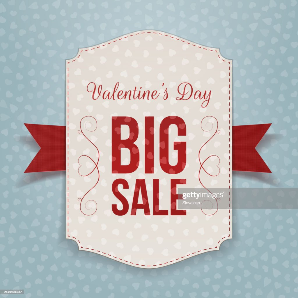 Valentines Day big textile Banner and red Ribbon