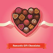 Valentine's day, birthday chocolates in box