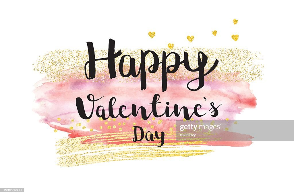 Valentines day brush stroke card