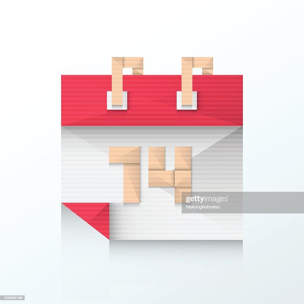 Valentines Day Calendar Feb 14th icon origami : Vector Art