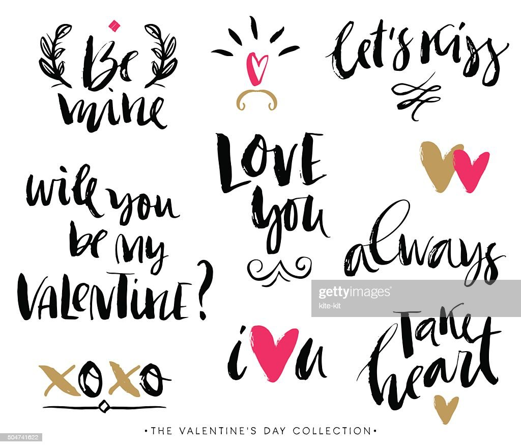 Valentines day calligraphic phrases. Hand drawn design elements.