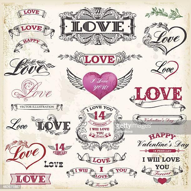 Valentine's day. Calligraphic vector set