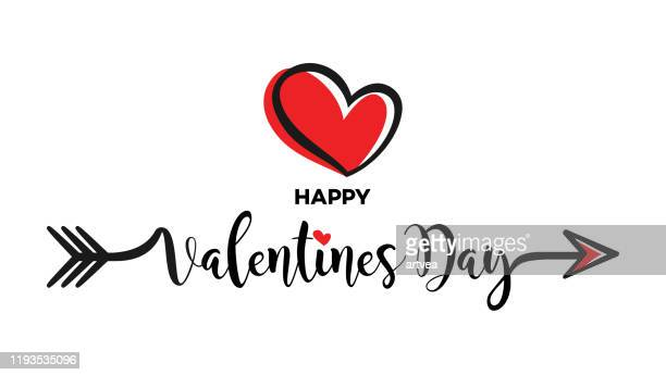 valentines day calligraphy banner with heart - valentine's day holiday stock illustrations