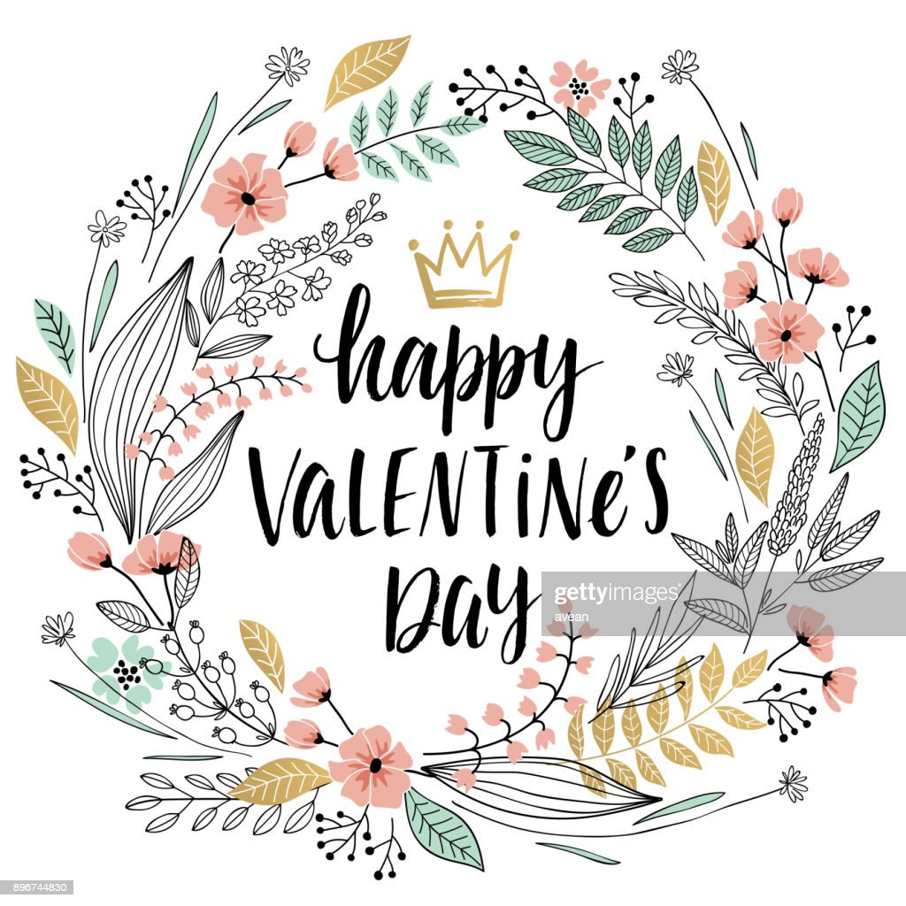 Valentine`s Day Callygraphic Wreath - hand drawn