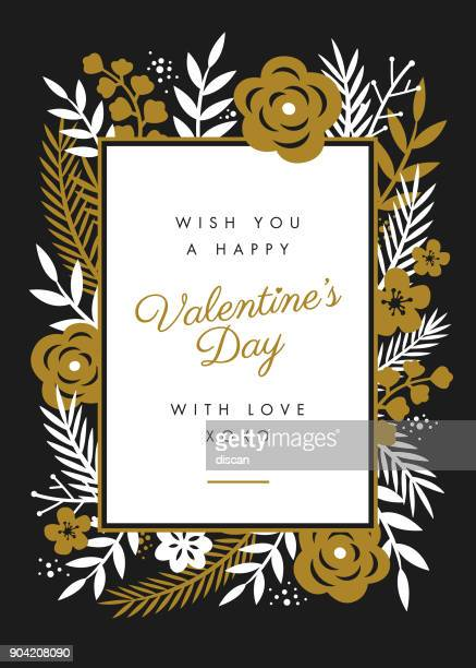 valentine's day card design with flowers frame. - rose flower stock illustrations, clip art, cartoons, & icons