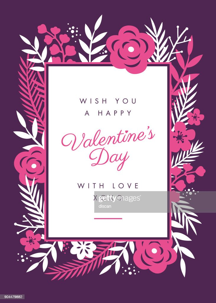 Valentines Day Card Design With Flowers Frame Vector Art | Getty Images