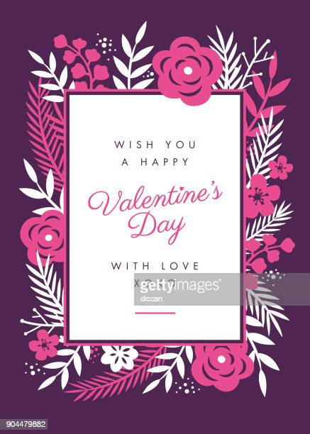 valentine's day card design with flowers frame - rose flower stock illustrations, clip art, cartoons, & icons