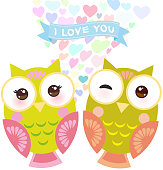 Valentines Day Card design with Kawaii owl with pink cheeks and winking eyes, pastel colors on white background. Vector