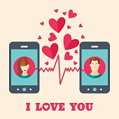 Valentine's day card with avatars on smartphone displays.