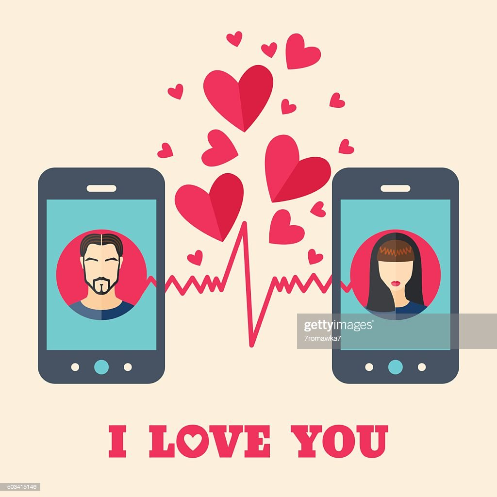 Valentine's day card with avatars on smartphone displays