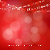 Valentines day card with garland of lights and hearts, vector
