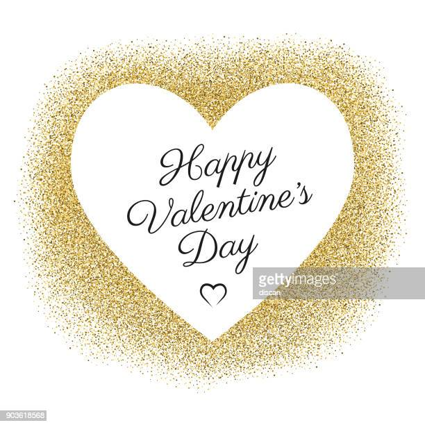 valentine's day card with golden glitter - valentine card stock illustrations