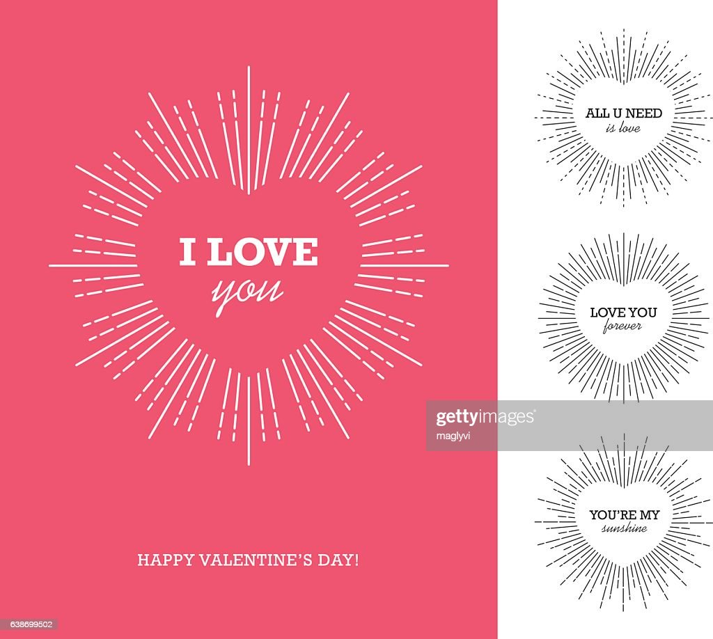 Valentine's day card with heart shaped frame and sunburst
