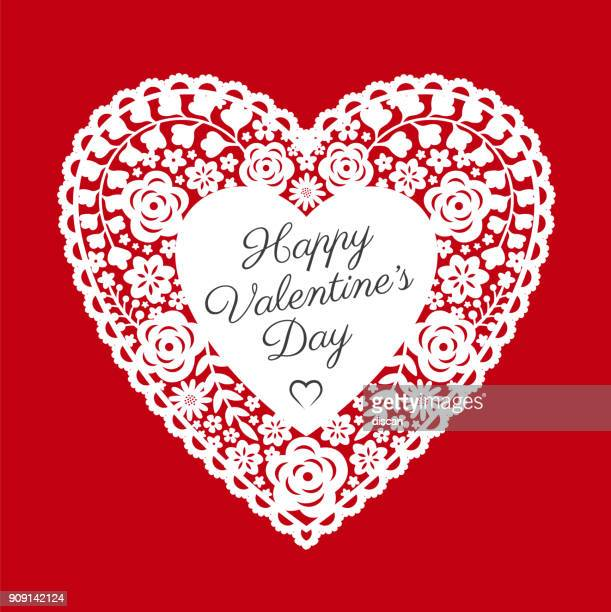 valentine's day card with paper cut heart - gift tag note stock illustrations, clip art, cartoons, & icons