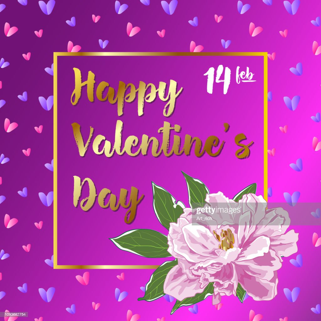 Valentines Day card with pink and lilac hearts on a pink background, with a pink peony flower. Vector