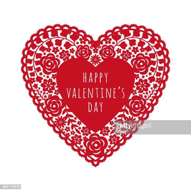 ilustraciones, imágenes clip art, dibujos animados e iconos de stock de tarjeta de san valentín con papel rojo corte corazón - carta de amor