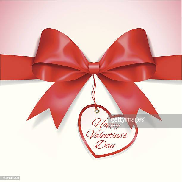 valentine's day card with ribbon - anniversary card stock illustrations