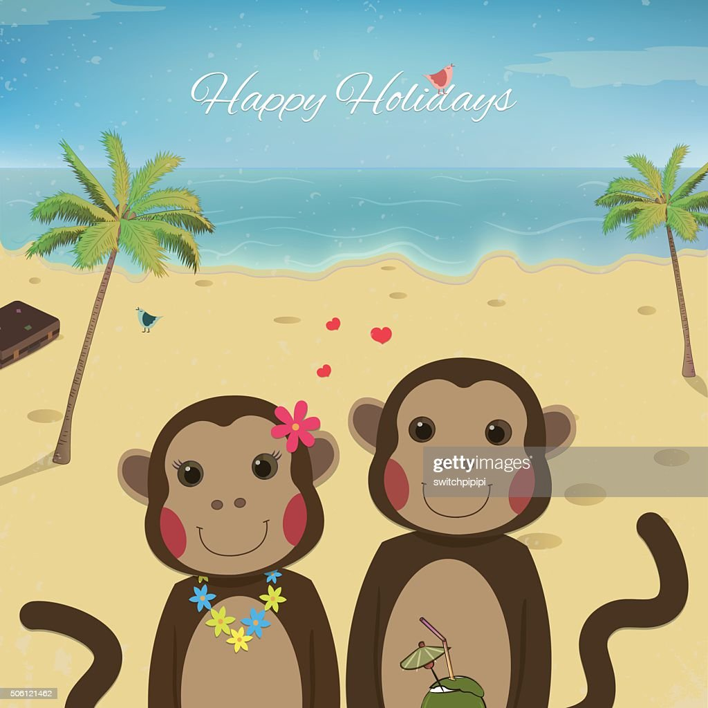 Valentines day card with romantic couple monkeys.