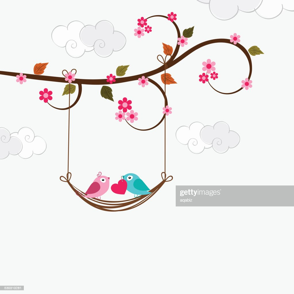 Valentines Day Celebration With Cut Love Bird Couple Vector Art