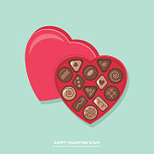 Valentine's day chocolate candy heart box