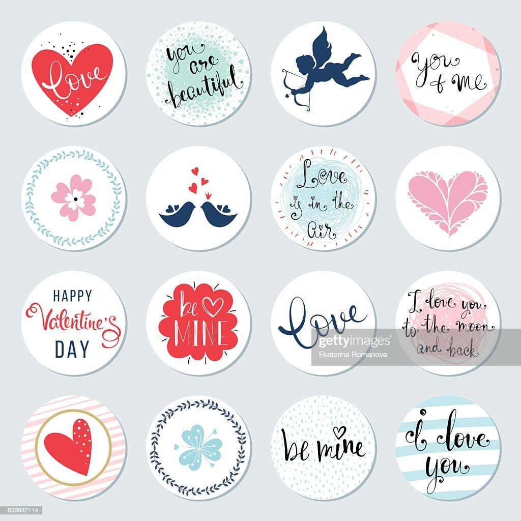 Valentines Day Circles Design Set