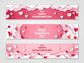 Valentines Day cloud banners