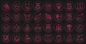Valentines Day color line icons vector button set