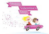 Valentines day couple ride on a pink convertible car