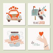 Valentine's day creative hand drawing greeting card set with car