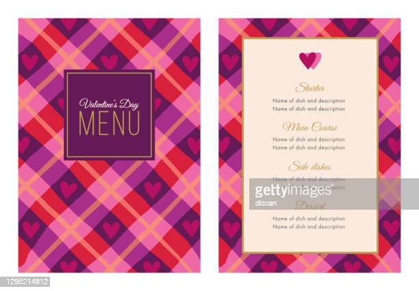 valentines day dinner menu. - gift tag note stock illustrations