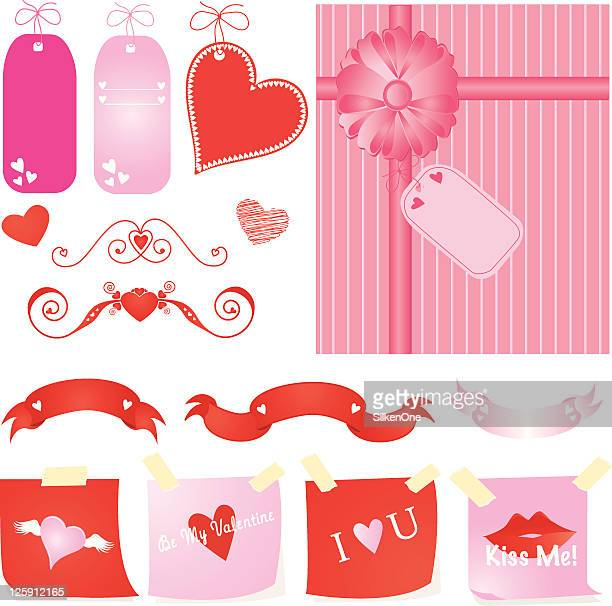 valentines day elements - gift tag note stock illustrations, clip art, cartoons, & icons