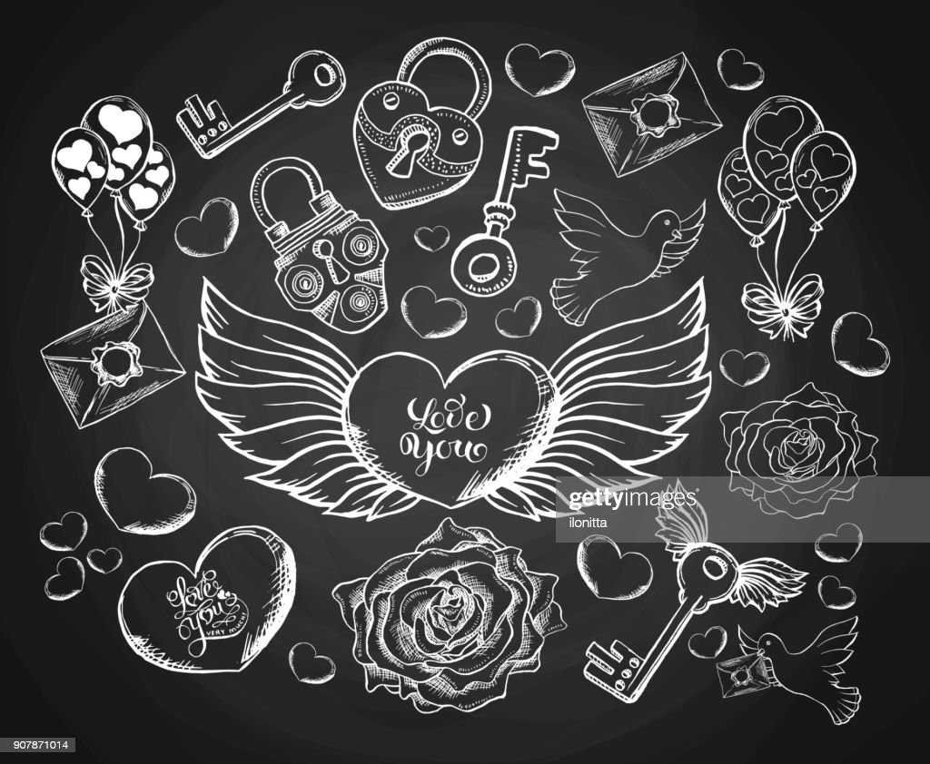 Valentines Day Engravind Set with Envelope, Hear, Wings, Dove and Rose. Sketch Envelope with Sealing Wax and Keys with Latch. Outline or Contour Clipart Drawing