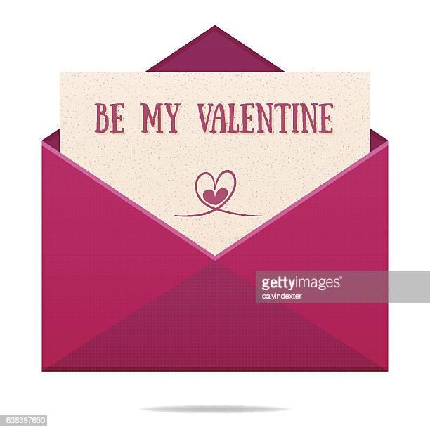 valentines day envelope - love letter stock illustrations, clip art, cartoons, & icons