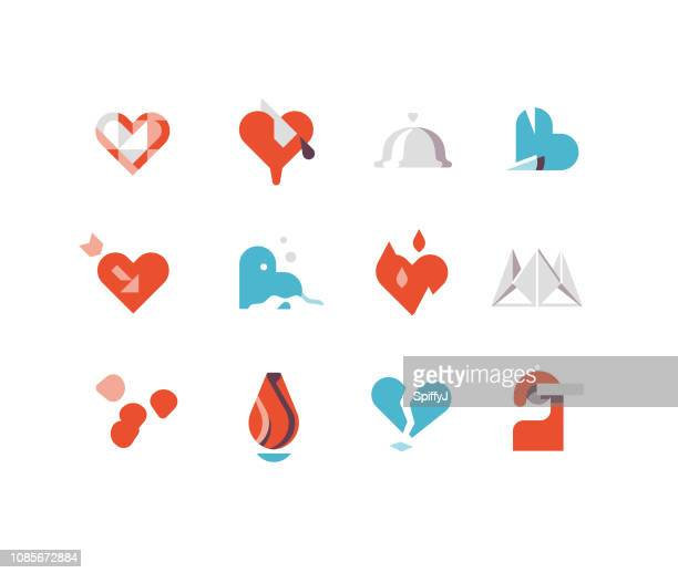 valentine's day flat icons series 1 - rose petals stock illustrations, clip art, cartoons, & icons