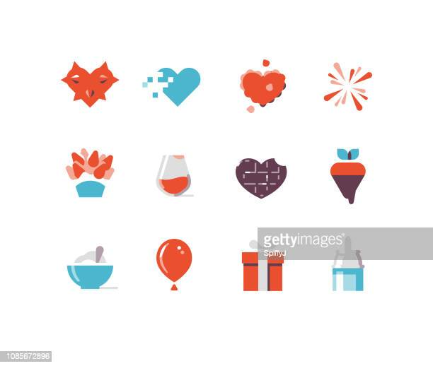 valentine's day flat icons series 2 - whipped cream stock illustrations, clip art, cartoons, & icons