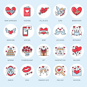 Valentines day flat line icons. Love, romance symbols - heart, engagement ring, wedding cake, Cupid, romantic date, valentine card, doves kiss, red rose. Thin linear signs for february 14 celebration
