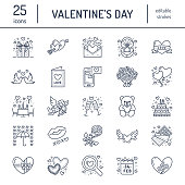 Valentines day flat line icons. Love, romance symbols - hearts, engagement ring, wedding cake, Cupid, romantic date, valentine card, doves kiss. Thin linear signs for february 14 celebration