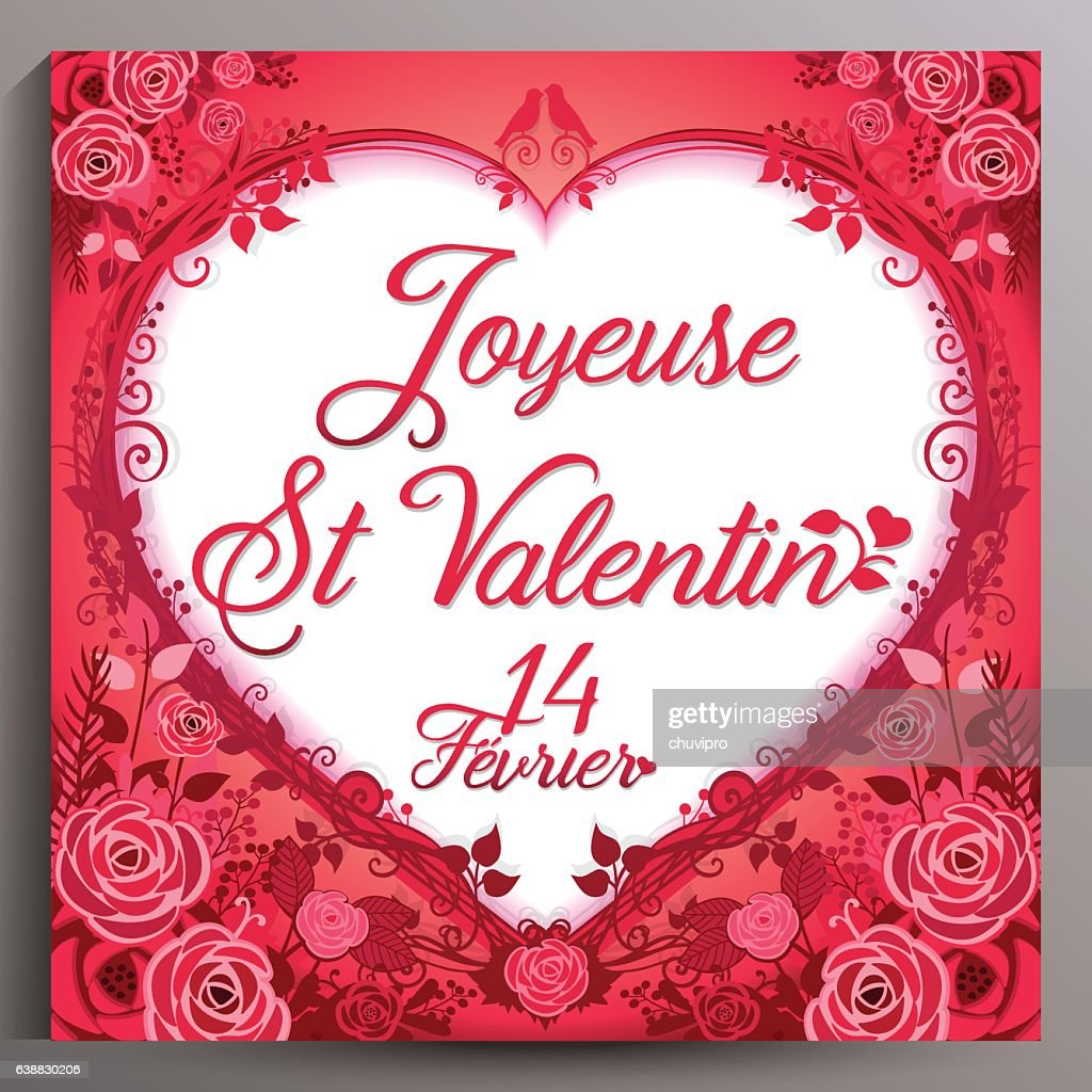 valentines day floral card french joyeuse st valentin vector art