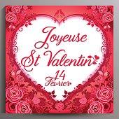 Valentine's Day floral card, French. Joyeuse St Valentin