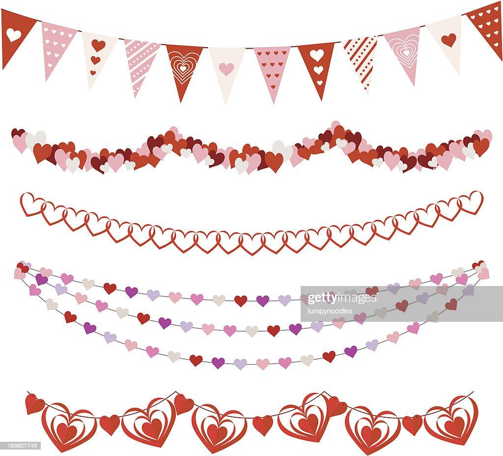 Valentines Day Garlands : stock illustration