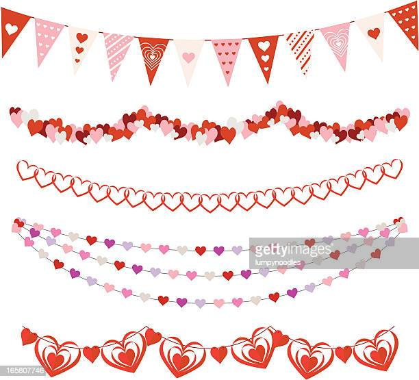 valentines day garlands - string stock illustrations