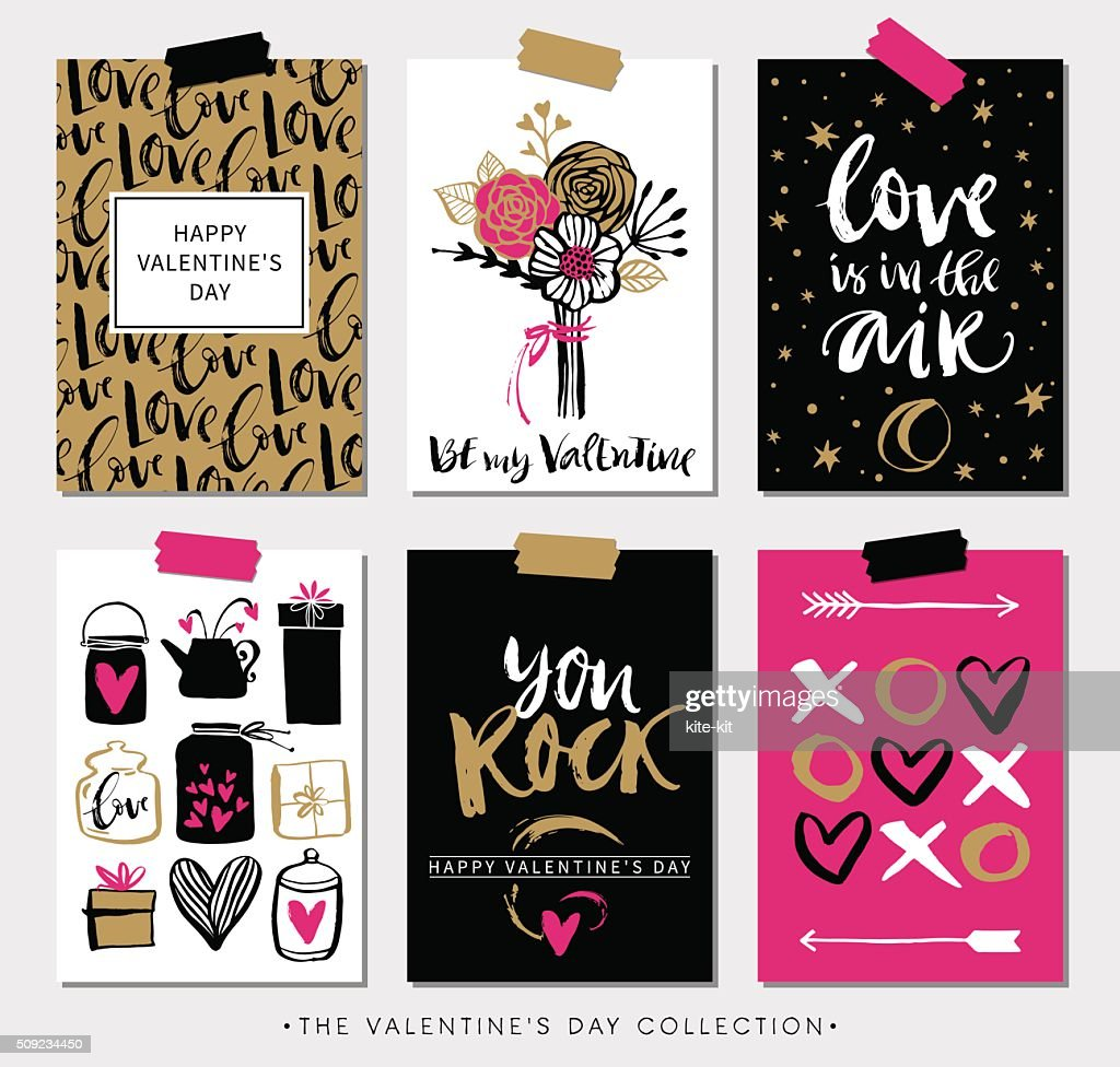Valentines day gift cards. Calligraphy and hand drawn design elements.